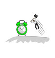 businessman using hammer to hit green alarm clock vector image vector image