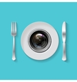 Camera lens with fork and knife vector image vector image