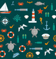 cartoon color sea seamless pattern background vector image