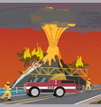 cartoon fire extinguishing vector image vector image