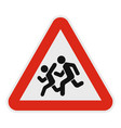 children crossing the road icon flat style vector image vector image