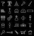 Construction line icons on black background vector image vector image