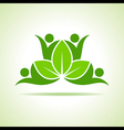 creative green people symbol design with leaf vector image vector image