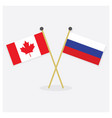 crossed canada and russian flags icons with shadow vector image vector image