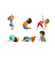 cute kids performing gymnastics and yoga exercises vector image