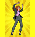 dancing business woman disco dance club music vector image vector image