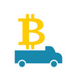 delivery bitcoin cryptocurrency logistics virtual vector image vector image