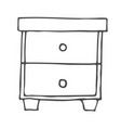 desktop with shelves hand drawn outline doodle vector image