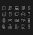 device simple white line icons set vector image