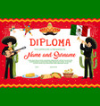 diploma template with mariachi musicians vector image vector image