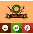 flat organic food icons vector image vector image