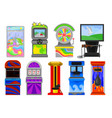 flat set of various arcade machines boxing vector image
