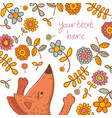 floral card with fox character and flowers vector image