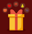 gift box of thanksgiving day with set icons vector image vector image