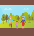 grandparents walking in green park with grandson vector image vector image