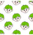 green hair boy seamless pattern textile print vector image vector image