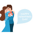 happy valentines day design with hug couple vector image