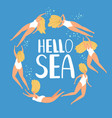 hello sea summer poster vector image