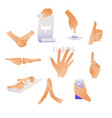 human hands and gestures set - collection of male vector image