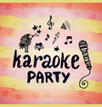 karaoke party music creative card with doodle vector image vector image