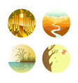 landscape icons colorful flat poster on vector image vector image