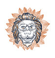 lion head surrounded with leaves sketch vector image