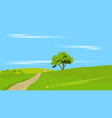 lone tree with rural land vector image vector image