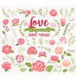 love and roses design elements vector image vector image