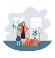 mother and children in livingroom avatar character vector image vector image