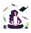 office meditation concentration at workspace vector image vector image