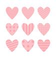 pink heart icon set cute polka dot line pattern vector image vector image