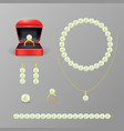 realistic 3d detailed jewelry items with pearl set vector image