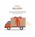 red delivery van with ribbon on white vector image vector image