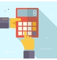 Retro Business Hands with Calculator Financial vector image vector image