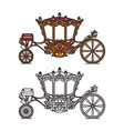 royal medieval wheel transport or vintage carriage vector image vector image