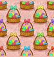 seamless basket with easter eggs vector image vector image