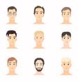 set of beautiful faces of young men close-up vector image vector image