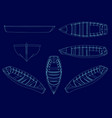 set with a wireframe a wooden boat from blue vector image vector image