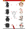 shadow activity with cow animals vector image vector image