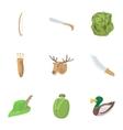 Shooting at animals icons set cartoon style vector image