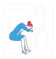 tired businesswoman - line design style isolated vector image vector image