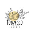 tobacco logo design hand drawn emblem can be used vector image vector image
