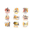 touristic travel agency set colorful promo sign vector image vector image