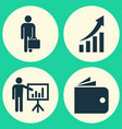 trade icons set collection of presenting man vector image vector image