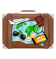 travel bag with world map sunglasses compass vector image