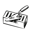trowel and brick vector image vector image