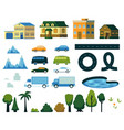 urban and natural landscape construction elements vector image