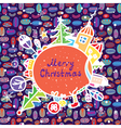 Whimsical christmas card with town vector image vector image