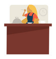 woman at cooking classes trying dish culinary vector image