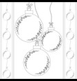 white christmas balls balls on the ropes black vector image